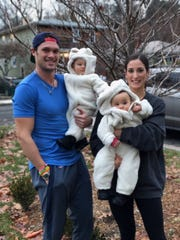 New England Patriots wide receiver and Wyckoff native Chris Hogan and his wife, Ashley Boccio, and their twins, who were born in March, just one month after Hogan won Super Bowl LI in Houston.