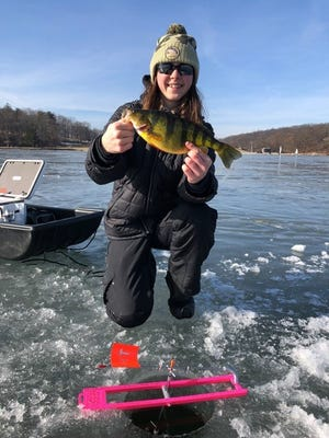 """Emily Guderian with a 15"""" perch."""
