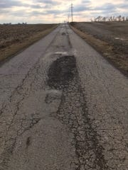 Another example of the damage on Rucker Road No. 2 from recent freezing and thawing.