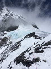 A hiker in the distance, as seen by Allan McLeland on his ascent of Mt. Everest.