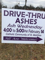 The Catholic Community of St. Matthias in the Somerset section of Franklin will offer Drive-Thru Ashes this Ash Wednesday. It is the first time the parish is offering this to the community as part of its Ash Wednesday services.