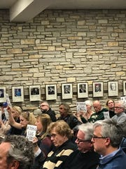 The room was packed during the Common Council meeting on Feb. 20. A public hearing was scheduled regarding the log cabin and the proposed apartment housing project.