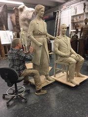 Sculptor Alan LeQuire working on the statue of Febb and Harry Burn.