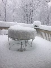 Snow in Warren at 5:15 p.m. Wednesday, only four hours
