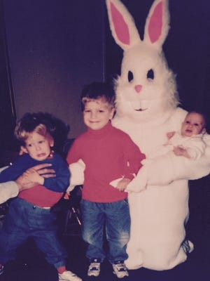 I took this picture of my three children at Breakfast with the Easter Bunny, Holy Family Parish, East Price Hill. Michael Del Prince, 2 1/2, had to be shoved into the picture by his daddy. Big brother Joey was 4 1/2, little sister Teresa was 4 months old. The year: 1993. They're 29, 27 and 25 now - time flies. This picture always makes me smile.