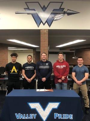 Wayne Valley football signing: (from left) AJ Tedesco, Isaac Rosado, coach Roger Kotlarz, Vinny Marrone and Greg Poloso.