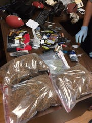 Authorities found these items inside footballs that a Rock Hill man tried to toss into Perry Correctional Institution in Greenville County last month.
