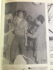 A photo from the 1977 Hoover High School yearbook shows a measles vaccine clinic after a statewide outbreak that year.