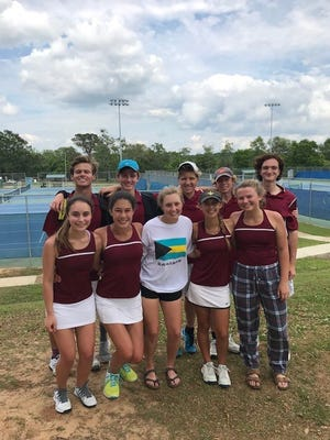 Pensacola High boys and girls tennis both won a Region 1-1A championship Thursday at will make a third consecutive trip to the state championships on Monday. Pictured: (back row, L to R) Stanley Dorian, Ben Darby, Reily Laggan, Max McCullar, Trevor Hegarty, (front row, L to R) Clair Litvak, Adrianna Manjon, Anna Lowery Robinson, Adele Dorian, Mimi Sherrill.