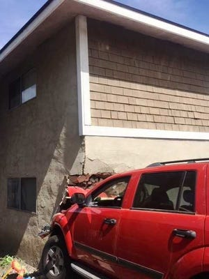 An SUV rammed into a Ventura apartment unit Sunday, leaving the vehicle's two occupants with minor injuries and forcing the tenants to relocate, officials said.