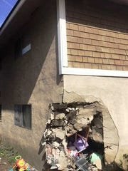 Damage to an apartment unit on Petit Avenue in Ventura after a vehicle rammed the building Sunday.