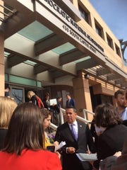 Rep. Ben Ray Lujan, D-N.M., talks to reporters outside of Democratic headquarters in Washington, D.C.