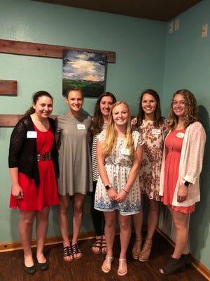 Pictured are the winners of the 2018 AAUW Scholarship from left: Kaitlyn Wehner, Olivia Mockert, Natalie Hencke, Ashley Boeck, Maya Fidziukiewicz and Anna Maramonte.