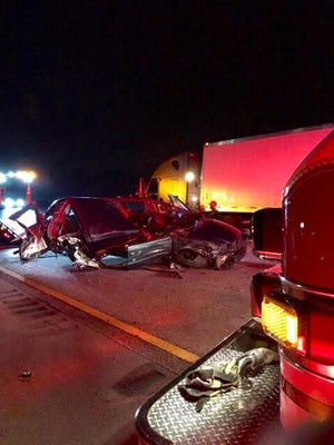 Multiple cars was totaled and one person was in serious condition in a crash on Florida's Turnpike early Saturday.