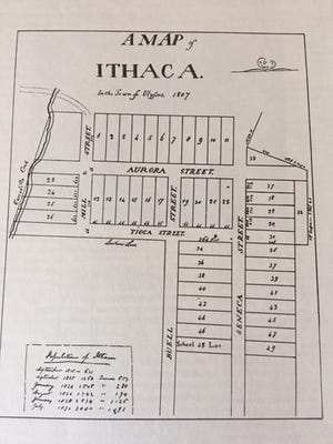 Simeon DeWitt created this 1807 map of the then-village of Ithaca.