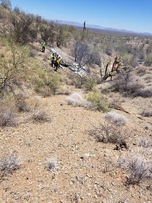 A small airplane crashed about 20 miles northwest of Wickenburg Tuesday. Two people were on board, neither were killed.