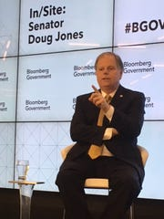 Sen. Doug Jones, D-Ala., spoke at a Bloomberg Government lunch soon after he won a special election in 2017.