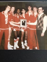 Lakeland coach Bob Mueller, far right, seen here with his 1984 Lancers boys' basketball team.
