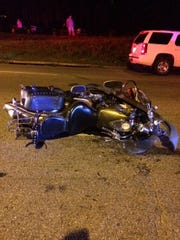A crash site shows where Ron Duncan's motorcycle came