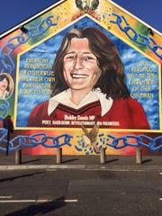 A mural in Belfast honoring Bobby Sands, MP.