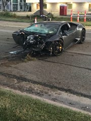 There was extensive damage to this Lamborghini Huracan which crashed in Bloomfield Hills. The driver is expected to face drunken driving charges.