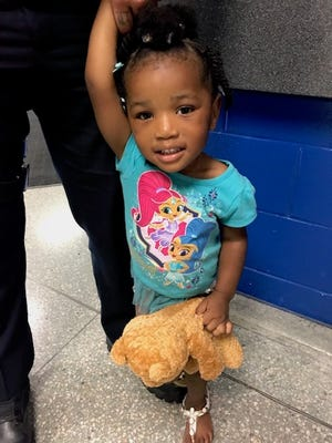 Detroit police are searching for the parents or guardians of this 3-year-old girl who was found walking alone in Detroit early Sunday morning, July 15, 2018.