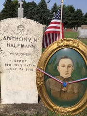 The grave of Anthony N. Halfmann, who died 100 years ago July 28, 1918.