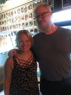 Becca Plank (left) poses at Suttree's High Gravity Tavern with stand-up comedian Jim Gaffigan, who was spotted around downtown Knoxville on Tuesday.