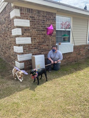 Dogs and their owners visiting residents at nursing homes outside their rooms.