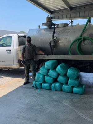 The Fayette County sheriff's office said Thursday it seized 350 pounds of marijuana from a septic cleaning truck earlier this week on Interstate 10.