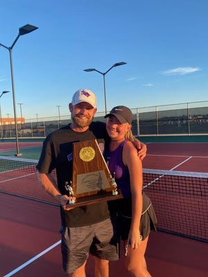 Coach Vince Sharp poses for a photo with his daughter, sophomore Morgan Sharp, who is the District 10-4A girls district MVP singles player for the Anna Coyotes.