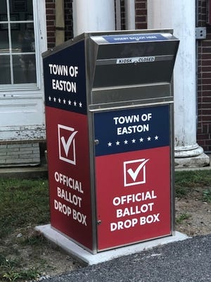 Voters can deposit mail ballot applications and ballots in this drop box at the town offices on Elm Street.