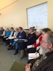 Rabbi Joshua Chasan, right, and Sister Pat McKittrick, second from right, of the Sisters of Providence were among the religious representatives at a news conference in Winooski opposing bringing F-35 fighter jets to Burlington airport.