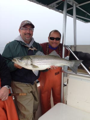 File: Herman Diaz holds the striped bass he caught fishing with Captain Dave DeGennaro on the Hi Flier.