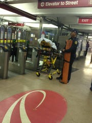 Emergency crews respond to the 8th and Market PATCO station after a person was struck by a train,