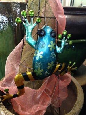 Whimsical hanging metal frog, Floral Tree Gardens.