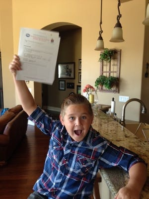 Cody Vasquez, 12, of Gilbert, won the Healthy Lunchtime Challenge and a trip to Washington and will represent Arizona at the third annual kids state dinner.