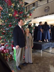 Gov. Jan Brewer and her son Michael stand in front