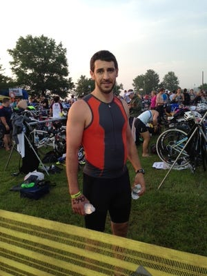 Chris Anderson awaits the start of a Half Ironman race he participated in last June.
