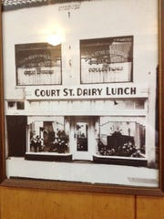 A vintage photograph of the Court Street Dairy Lunch hangs on the wall of the downtown restaurant.