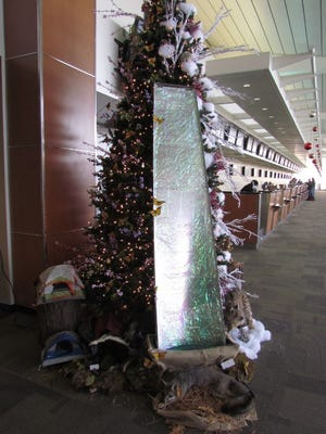 This Christmas tree at California's Fresno Yosemite International Airport features a working waterfall.