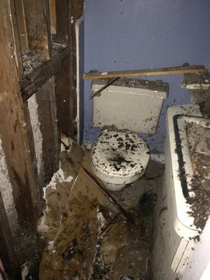 The bathroom where an explosion knocked Montebello Mayor Jeffrey Oppenheim into the next room and started a fire in Providence, Rhode Island.