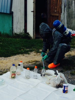 State trooper dismantles meth lab on Bayberry Road west of Felton.