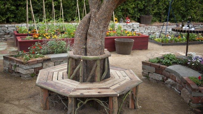 Landscape designer Katharine Pinney designed this bench around a tree and raised flower and vegetable beds from discarded scaffolding.