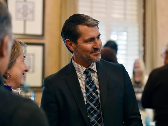 Zachary Zimmerman greets family and investors during a luncheon Friday at Country Club of York.Zimmerman is CEO and one of the founders of Forge Therepeutics, a San Diego biotech company that is developing a new type of antibiotic that kills bacteria resistant to antibiotics now on the market.