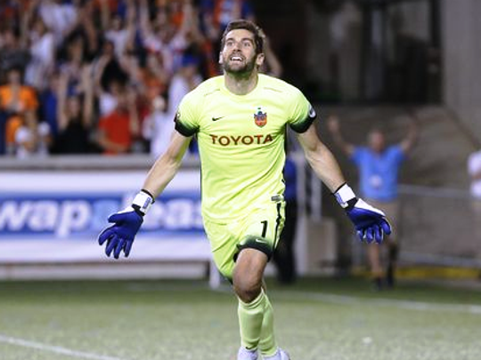 FC Cincinnati goalkeeper Mitch Hildebrandt celebrates