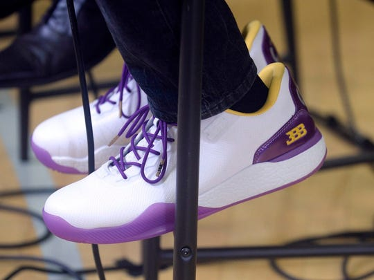 The $495 ZO2 sneakers, as modeled by Lonzo Ball at his introductory press conference with the Lakers. (Gary A. Vasquez/USA TODAY Sports)