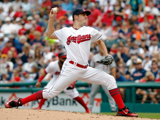 Trevor Bauer of the Cleveland Indians pitches against the Detroit Tigers in the second inning at Progressive Field on September 18, 2016 in Cleveland, Ohio.