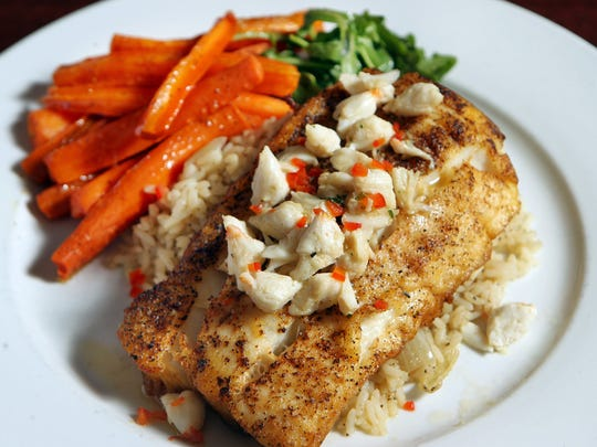 Daily fish (cod) with grab butter, rice and oven roasted carrots from Meritage in Glendale.