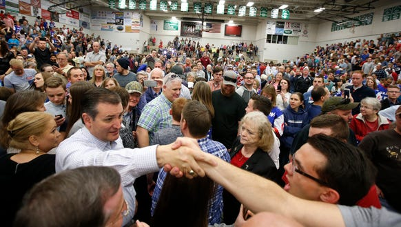 Sen. Ted Cruz (R-TX) greets people after he spoke at